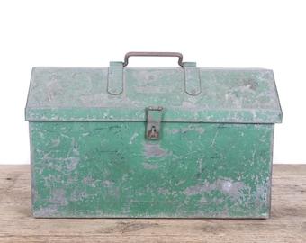 Vintage Green Metal Toolbox / Industrial Box / Large Handmade Metal Storage Box / Antique Metal Tool Box / Tool Display Prop Unique Storage