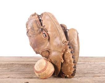 Old Leather Baseball Glove / Small Vintage Bob Shaw Baseball Glove / Baseball Glove / Antique Baseball Glove / Old Glove Antique Mitt