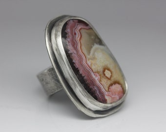 Crazy Lace Agate Ring, Agate & Sterling Ring, Big Statement Ring, Boho Ring, Le Chien Noir, Unisex, Size 7.25