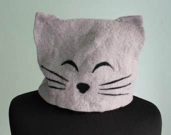 Felted hat with ears - cat
