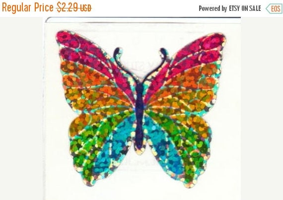 SALE Rare Vintage Hambly Glitter Rainbow Butterfly Sticker 80's