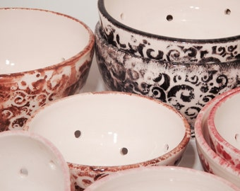 SMALL Hand-made porcelain colanders,  strainers, berry bowls, red, white, brown.
