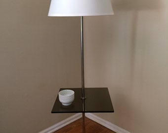 Mid Century Smoked Glass Floor Lamp by Laurel