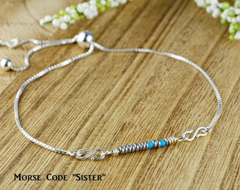 "Morse Code ""Sister"" Adjustable Sterling Silver Interchangeable Charm/Link Bolo Bracelet- Charm, Bracelet Chain, or Both"