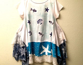 Recycled cotton shirt summer dress Hand painted