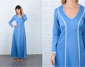 Vintage 70s Blue Maxi Dress Crochet lace Boho Hippie Small S 8850