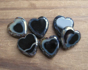 Black Picasso Edge Tablecut Heart Beads Czech Glass Flat New 16x15mm (6)