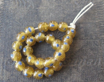 Amber Glass with Blue Spots Lampwork Manik Beads from Indonesia 6-7mm (25)