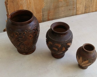 70s Stoneware Table Vase Set Brown, Ceramic Floral Graduated Vases, Israel Pottery Ceramic Relief Rustic Decor, Vintage Vases
