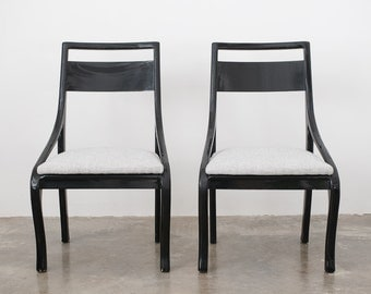 Mid Century Black Lacquer Chairs
