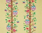 SALE SALE SALE Owlery Owls on Canary Yellow Fabric from Michael Miller's Happy Tones Collection