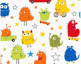 Bright Monsters & Stars (Primary) from Robert Kaufman's Monsters Collection by Sea Urchin Studios