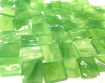 SOFT RIPPLE APPLE Green Odd Translucent Stained Glass Mosaic Tile O5
