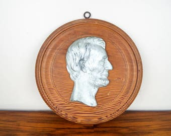 Vintage Lincoln High Relief Plaque Sculpture American Presidents Wall Hanging, Abraham Lincoln Wall Hanging Gift for Political Historian