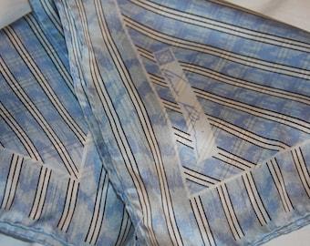 "Vintage ANNE KLEIN Silk Scarf Blue White Diagonal Stripe 21 x 21"""