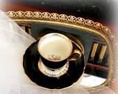 LOVE S-A-L-E Vintage Demitasse Cup & Saucer - Elegant Black - Gold Gilt Pattern with English Garden Bouquet - Continental Bavaria