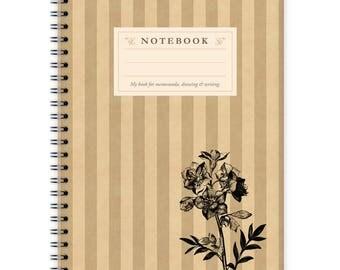 Notebook A5 - Flower on Stripes