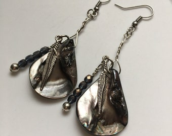 Handmade Teardrop Shell, Crystal, and Silver Plated Feather Earrings