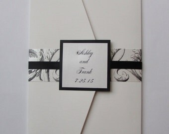 Ashley and Frank// Black and White Pocket Wedding Invitation