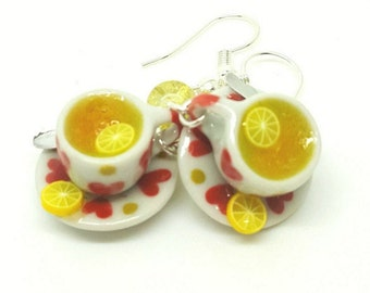 Lemon Tea Earrings. Polymer clay.