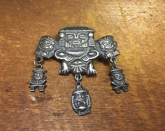 Vintage Sterling Mayan or Aztec Themed Brooch