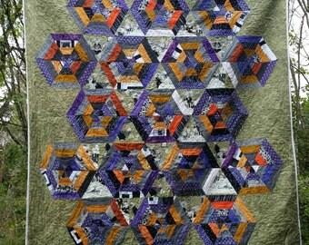 Ghastlie's Halloween spider web scrap quilt - full/queen 78''x82'' NEW