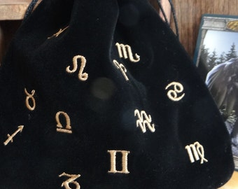 Black Astrological Signs Embroidered Velvet Bag Wiccan Pagan Supplies for Gris Gris Mojo Bags etc.