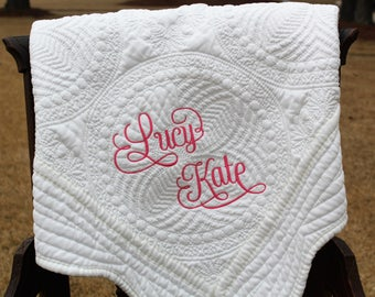 Baby Quilt With Full Name, Monogrammed Baby Quilt, Monogrammed Quilt, Personalized Quilt, Baby Shower Gift, Christening Gift, New Baby Gift