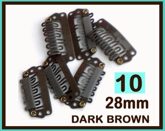 Dark Brown Snap Clips for Diy Extensions, Wefts & Hair Bow Clip - Size 28mm