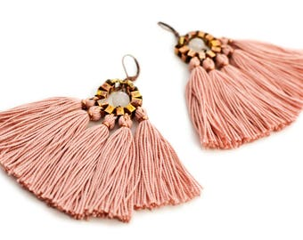 Tassel Earrings, Old Rose Fringe Earrings, Boho Chandeliers, Hippie Earrings, Statement Earrings, Boho Bride, Pink Earrings, Fabric Earrings