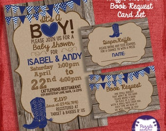 Cowboy Boy Baby Shower Invitation and Shower Set -Invite + Diaper Raffle Ticket + Book Request   - I design you print