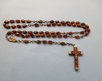 Antique French Brown Bakelite Rosary Beads - French Religious - Catholic Religious Jewelry