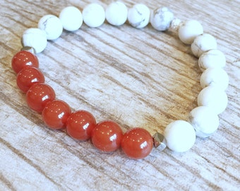 Courage and Confidence - Carnelian Bracelet - Howlite Bracelet - Healing Jewelry - Root Chakra Bracelet - Yoga Bracelet - Energy Bracelet -