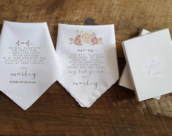 Set of 2 Wedding Handkerchief for Mother and Father of the Bride. Printed handkerchief. Wedding handkerchief.