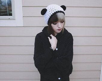 Artio - Handmade Crochet Panda Bear Ear Beanie