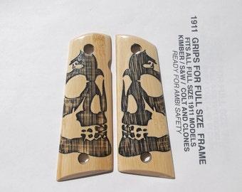 Custom  1911  Gun Grip -- Bamboo / Skull