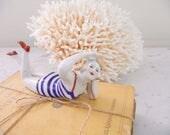 Vintage Bathing Beauty Flapper Figurine French Porcelain Doll Beach House Coastal Decor