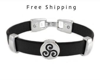 Triskele bracelet, Triskele leather bracelet, Triskelion, Celtic jewelry, Gift for him, her, Custom made, Valentines day,