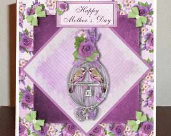 Mother's Day card, Vintage Lilac Roses with love birds in cage 6 x 6 card
