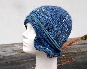 jeans blue asymmetric winter cloche hat, retro knit hat, 1920 unique womans beanie, jeans blue turqoise, woman art to wear fashion A