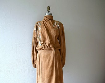 1930s leather dress . vintage 30s hand painted dress