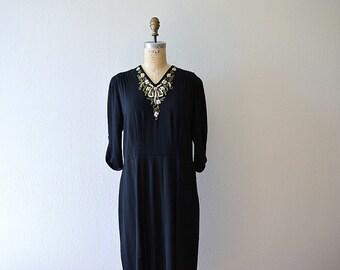 Vintage 1930s 1940s dress . vintage beaded rayon dress