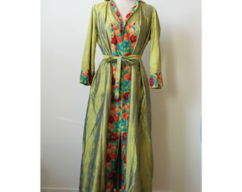 Chartreuse Silk Dress with Floral Embroidery | Silk Bedouin Dress | Chartreuse Green Dress Robe | Floral Kaftan Dress | Green Maxi Dress