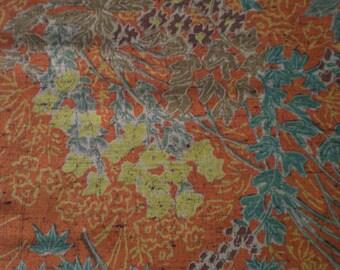 Vintage Japanese wool kimono fabric autumn forest leaves 92 cm x 36 cm