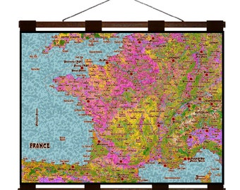 FRANCE Map 7G- Handmade Leather Wall Hanging - Travel Art