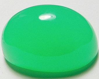 Chrysoprase designer cab glowing green  gumdrop AAA+  maraborough high dome oval 29.41 ct.Eye clean cabochon