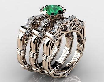 Art Masters Caravaggio Trio 14K Rose Gold 1.0 Ct Emerald White Diamond Engagement Ring Wedding Band Set R623S3-14KRGDEM