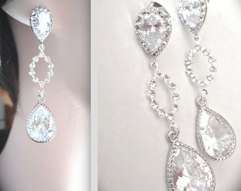 Crystal Earrings ~ Long ~ Cubic Zirconia teardrops ~  Sterling Silver posts ~ Bridal Jewelry ~ Brides earrings ~ Sparkly earrings