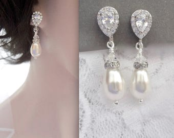 Clip-on Pearl earrings, Clip on Crystal earrings, Clip on brides earrings, Clip-on wedding earrings, Clip on pearl earrings for a bride