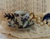 Antique Violet Teacup + Saucer by Enesco - Victorian Violets, Numbered Coffee Mug, Gift For Tea Drinkers, Gift For Coffee Drink, Petite Mug